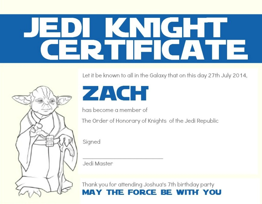 ... no Jedi Training Academy is complete without Jedi Knight Certificates