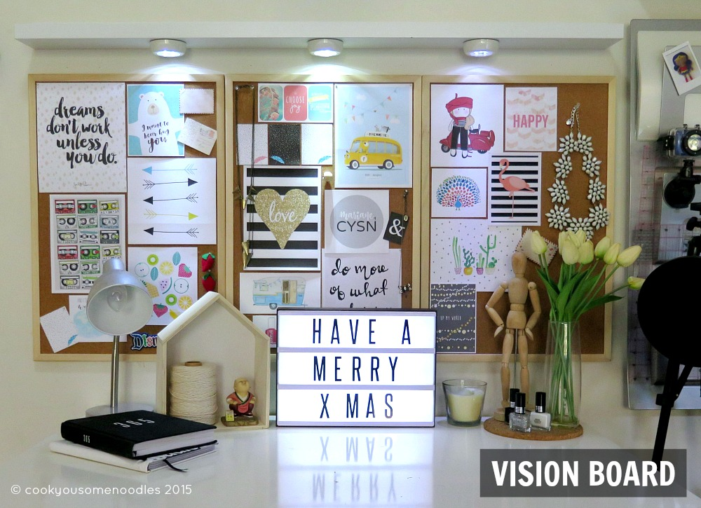 ... Boards There, But Since I Used Them On The Vision Board Desk Side Of My  Work Station, I Was Left With A Blank Wall. Below Is The Finished Vision  Board.